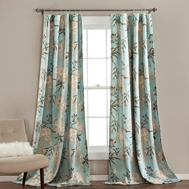 Lush Decor 2-pack Botanical Garden Window Curtains, Blue, 95X52