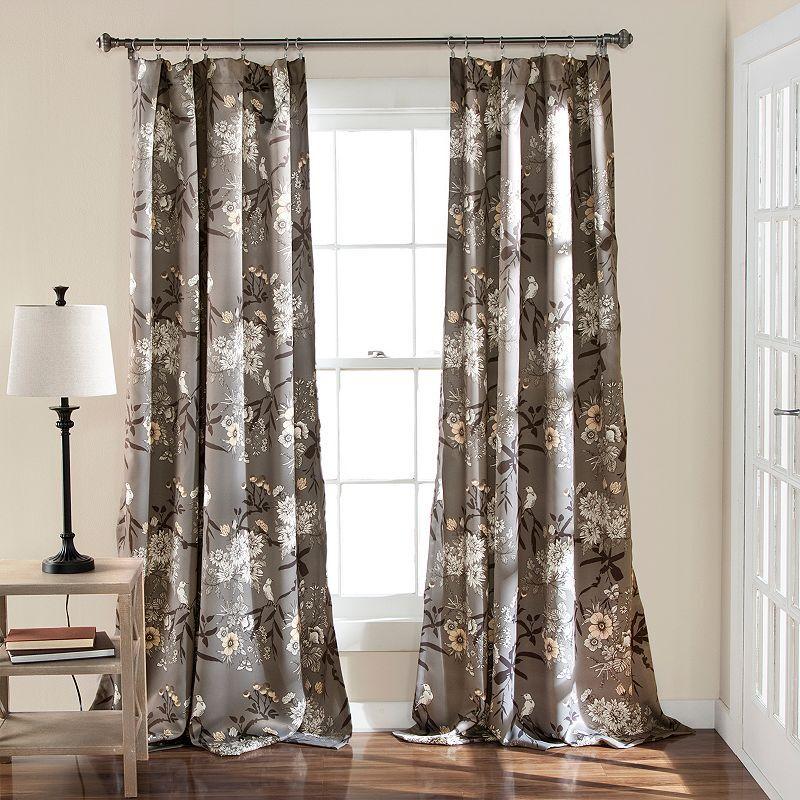 Lush Decor 2-pack Botanical Garden Window Curtains, Grey, 95X52