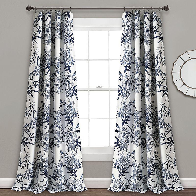 Lush Decor 2-pack Botanical Garden Window Curtains, Blue, 84X52