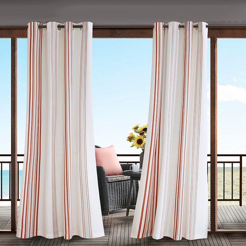 Madison Park 1-Panel Bolinas Stripe Outdoor Curtains, Orange, 54X84