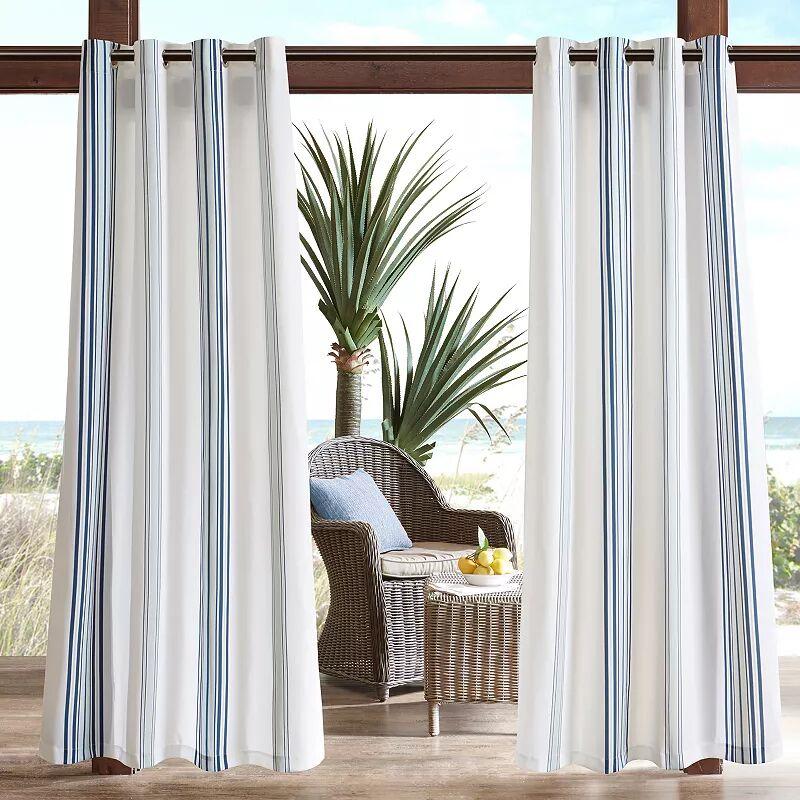 Madison Park 1-Panel Bolinas Stripe Outdoor Curtains, Blue, 54X95