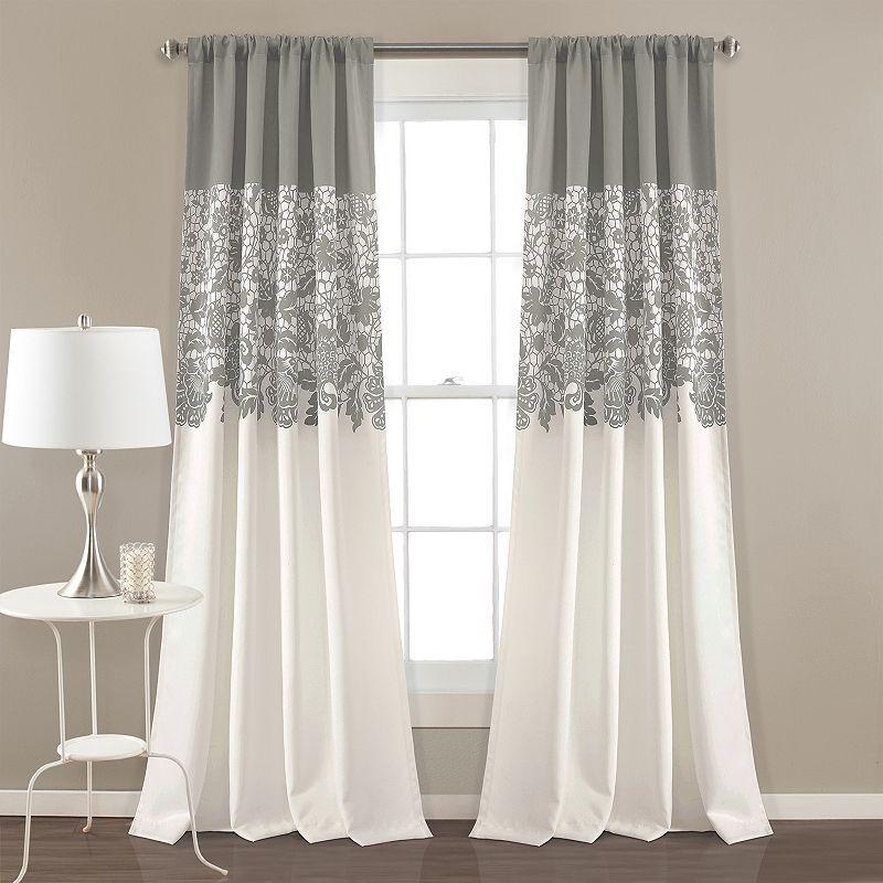 """Lush Decor 2-pack Estate Garden Print Room Darkening Window Curtains - 52"""" x 84"""", Grey, 52X84"""
