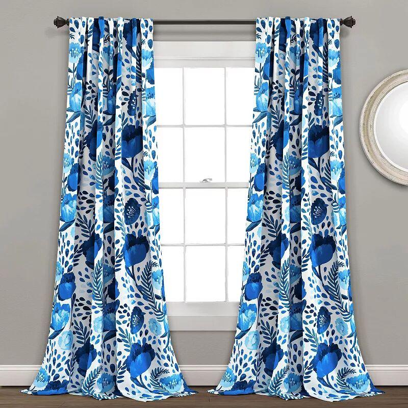 Lush Decor 2-pack Poppy Garden Room Darkening Window Curtain, Blue, 52X84