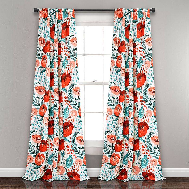 Lush Decor 2-pack Poppy Garden Room Darkening Window Curtain, 52X108