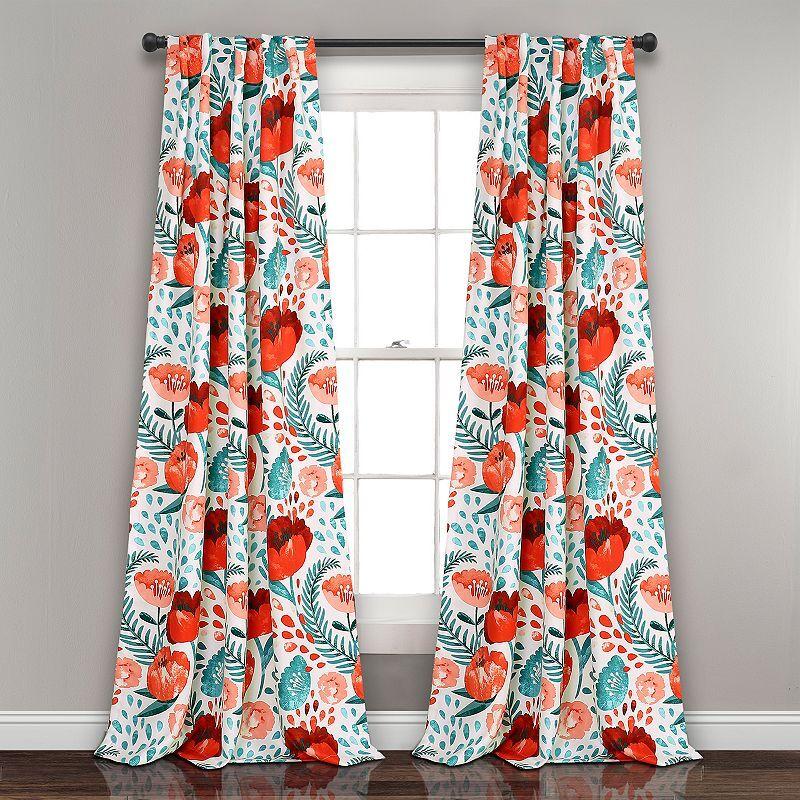 Lush Decor 2-pack Poppy Garden Room Darkening Window Curtain, 52X95