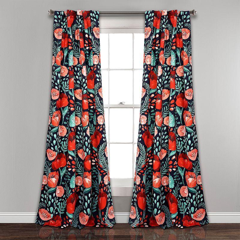 Lush Decor 2-pack Poppy Garden Room Darkening Window Curtain, Blue, 52X95