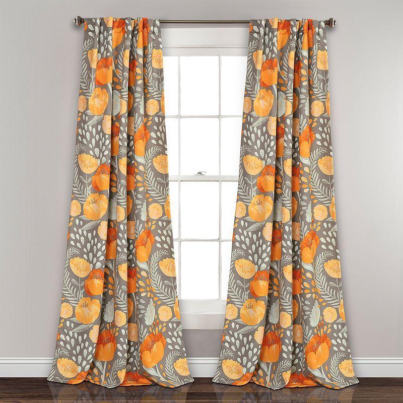 Lush Decor 2-pack Poppy Garden Room Darkening Window Curtain, Yellow, 52X84