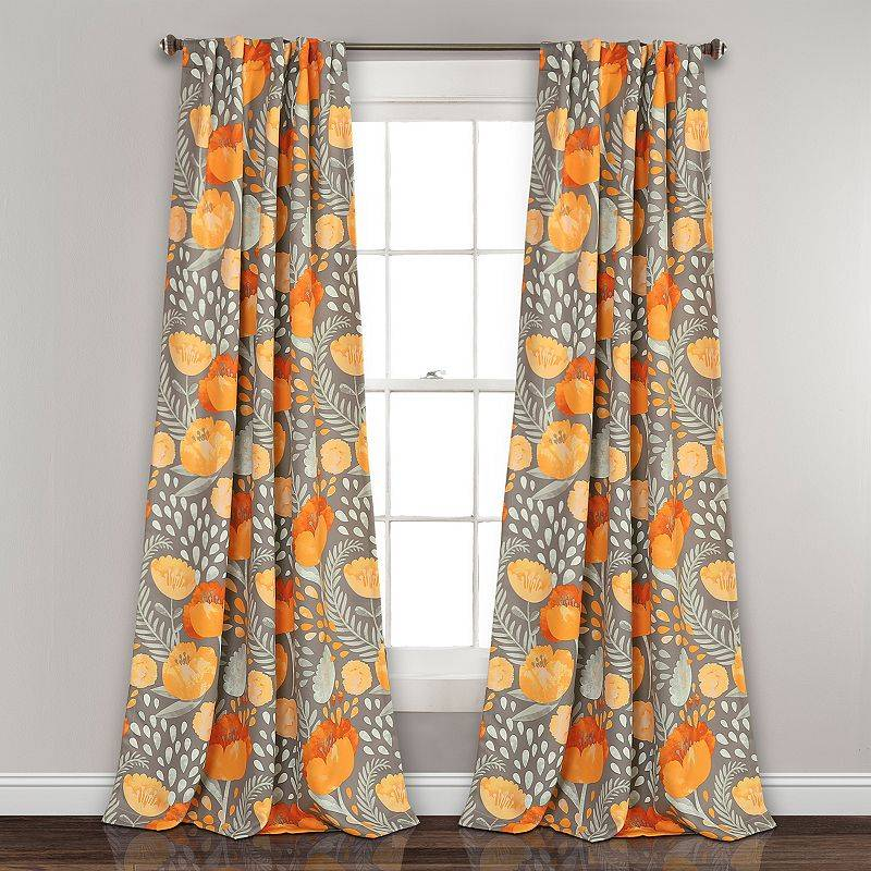 Lush Decor 2-pack Poppy Garden Room Darkening Window Curtain, Yellow, 52X108