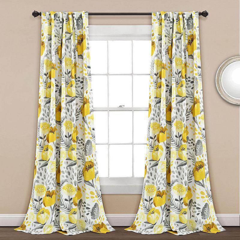 Lush Decor 2-pack Poppy Garden Room Darkening Window Curtain, 52X84