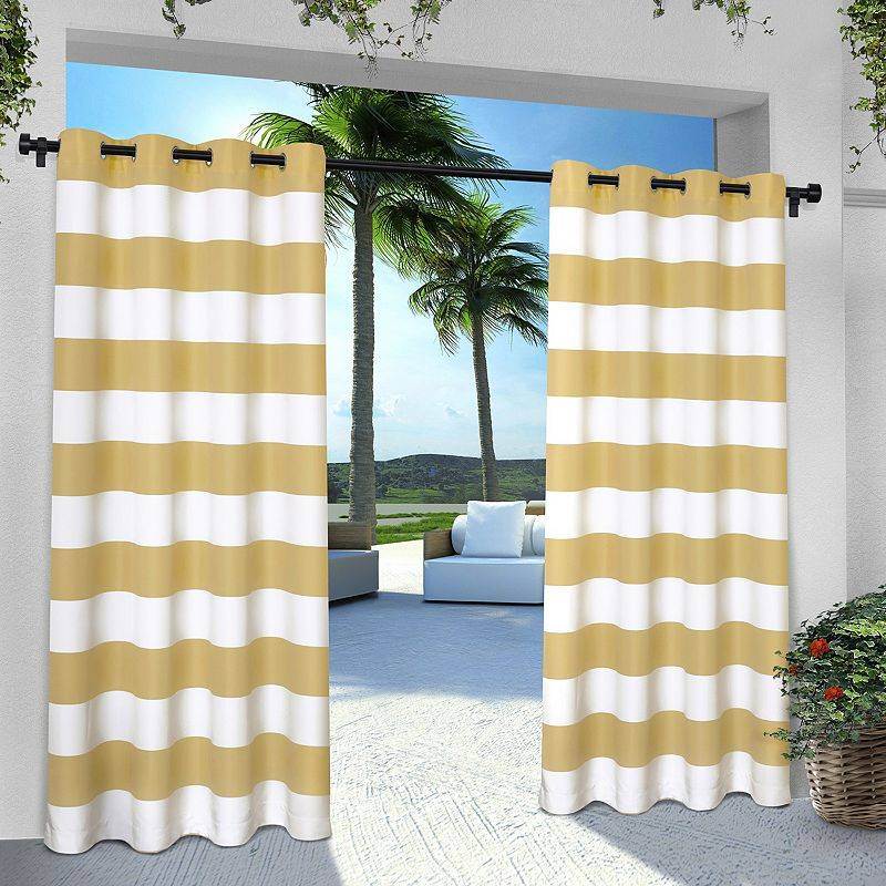 Exclusive Home 2-pack Indoor/Outdoor Stripe Cabana Window Curtains, Yellow, 54X84