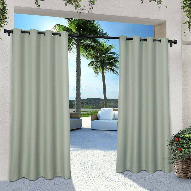 Exclusive Home 2-pack Indoor/Outdoor Solid Cabana Window Curtains, Green, 54X84
