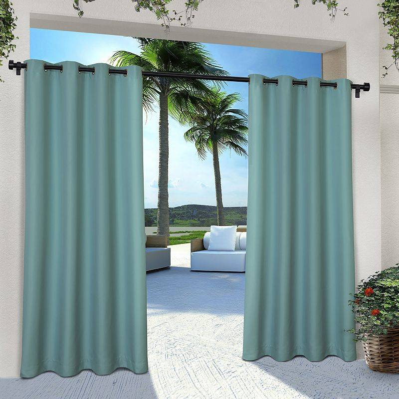 Exclusive Home 2-pack Indoor/Outdoor Solid Cabana Window Curtains, Green, 54X108