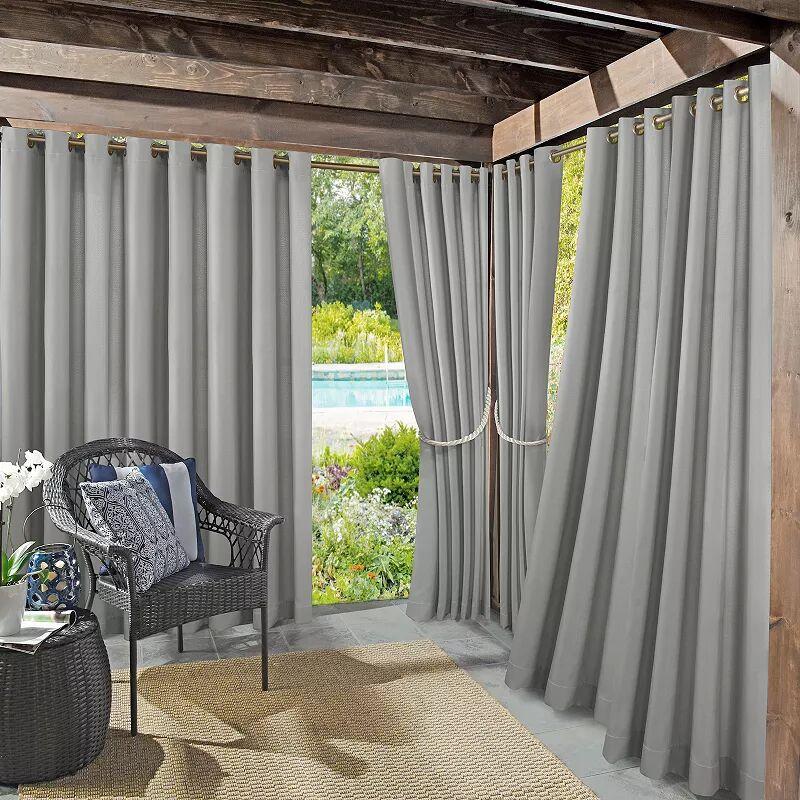 Sun Zero Sailor Indoor/Outdoor UV Protectant Room Darkening Grommet Window Curtain, Grey, 54X108