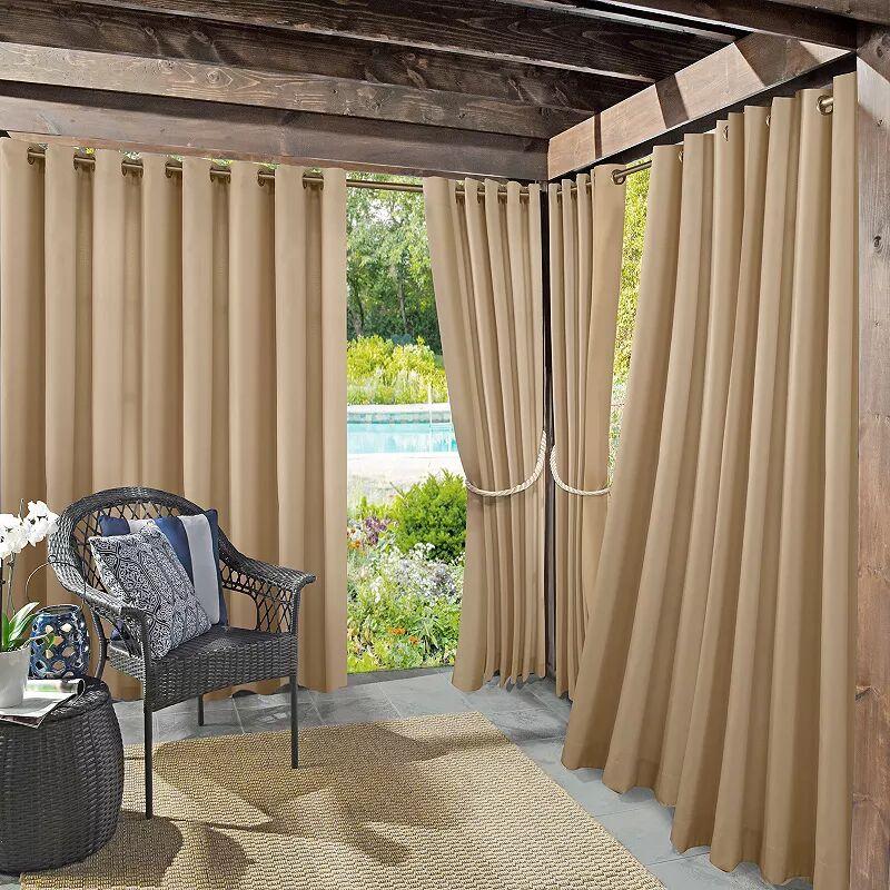Sun Zero Sailor Indoor/Outdoor UV Protectant Room Darkening Grommet Window Curtain, Beig/Green, 54X95