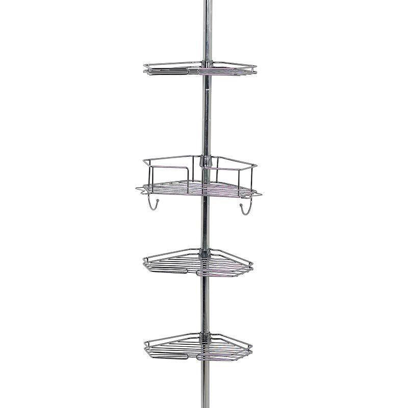 Zenna Home 4-Tier Pole Shower Organizer, Grey