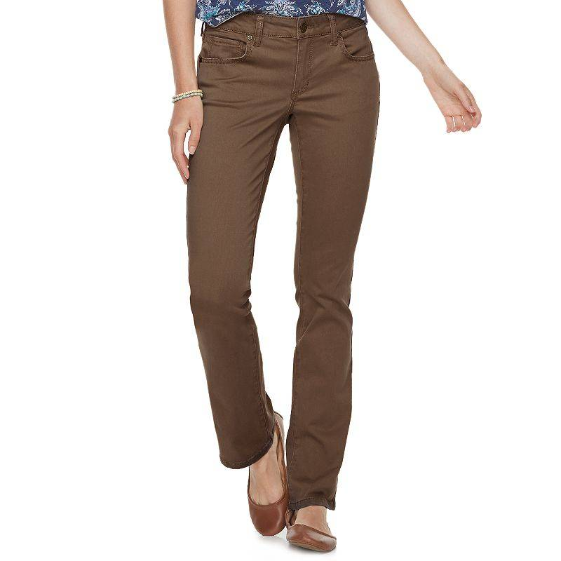 Women's Sonoma Goods For Life Midrise Sateen Bootcut Pants, Size: 12 T/Large, Brown