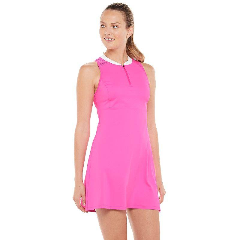Women's FILA SPORT Zip-Front Tennis Dress, Size: Small, Med Pink