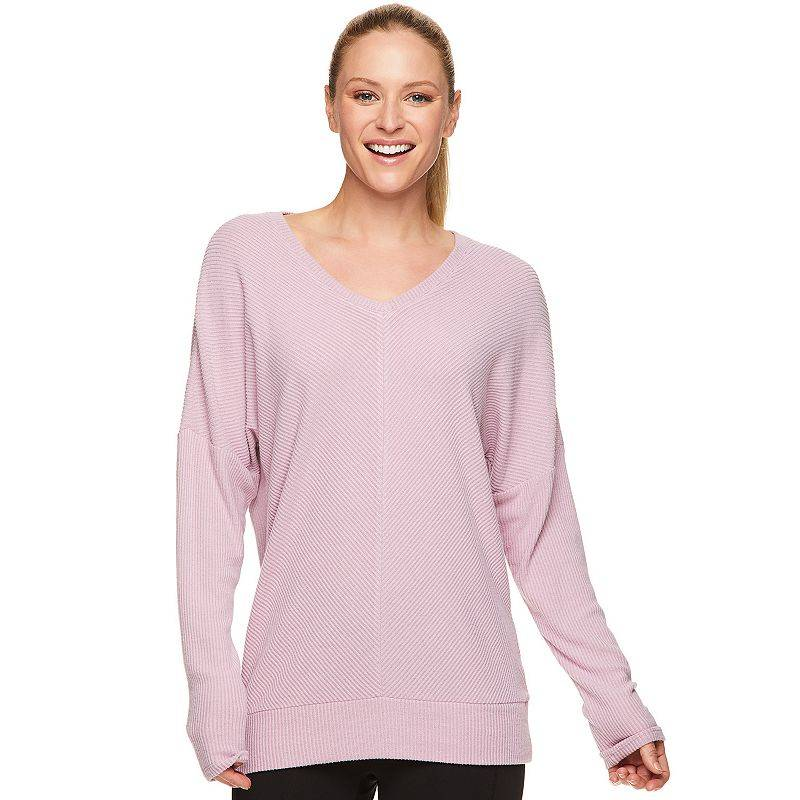 Women's Gaiam Rimma Ribbed Top, Size: XL, Med Purple