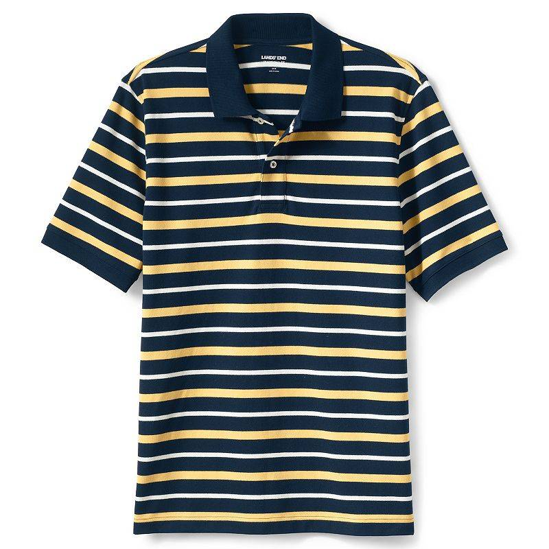 Men's Lands' End Striped Comfort First Mesh Polo, Size: Large, Dark Blue