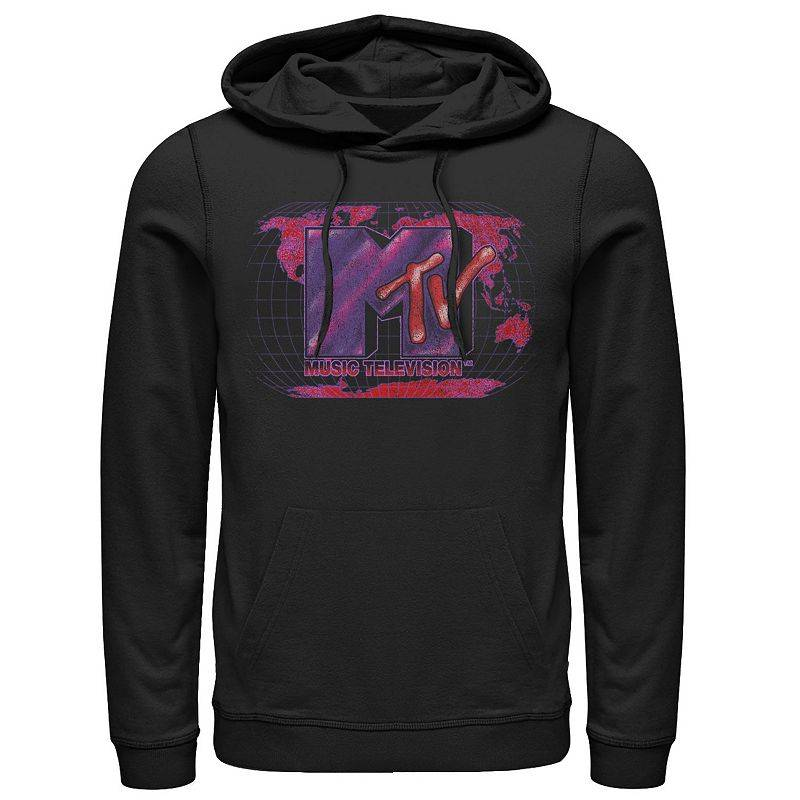 Licensed Character Men's MTV Music Television Global Domination Logo Hoodie, Size: Small, Black