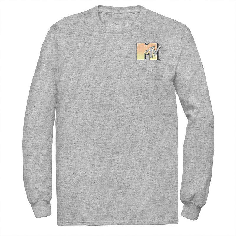 Licensed Character Men's MTV Music Television Gradient Left Chest Logo Tee, Size: Small, Med Grey
