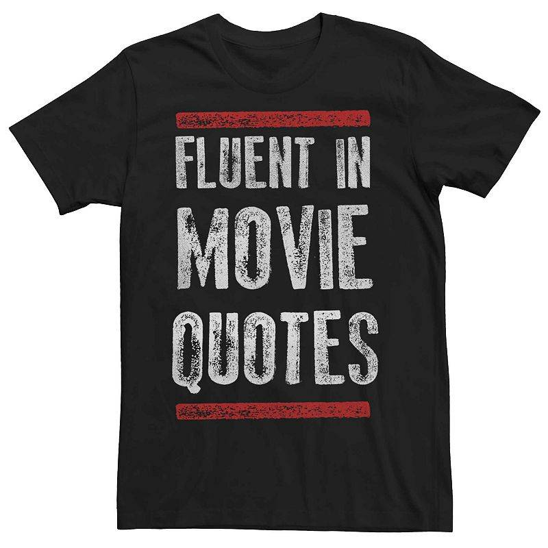 Licensed Character Men's Fluent In Movies Quotes Graphic Tee, Size: XXL, Black