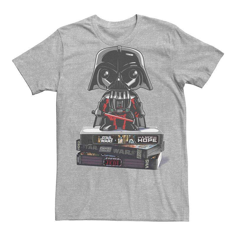 Licensed Character Men's Star Wars Darth Vader VHS Movies Graphic Tee, Size: XXL, Med Grey