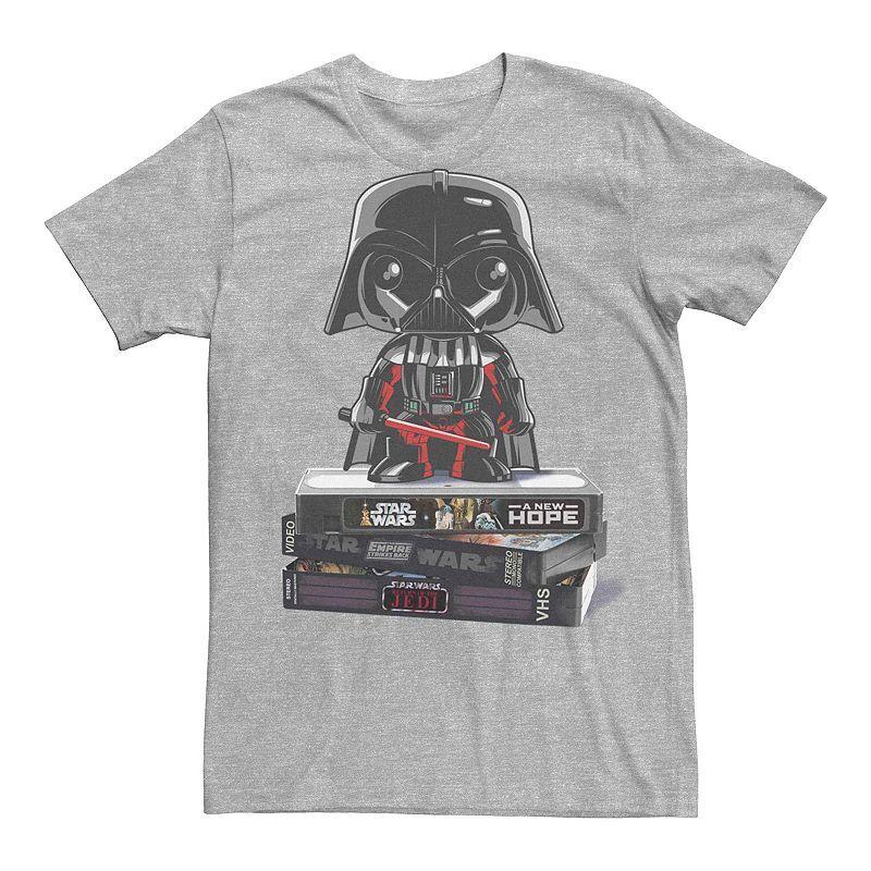 Licensed Character Men's Star Wars Darth Vader VHS Movies Graphic Tee, Size: Medium, Med Grey