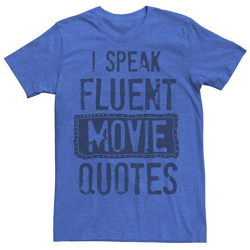 Licensed Character Men's Speak Movies Graphic Tee, Size: XXL, Med Blue