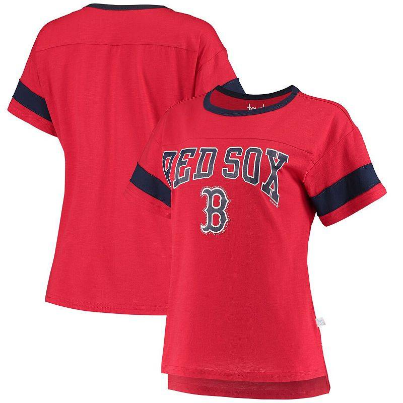 Unbranded Women's G-III Sports by Carl Banks Red Boston Red Sox Wild Card Boat Neck T-Shirt, Size: Small