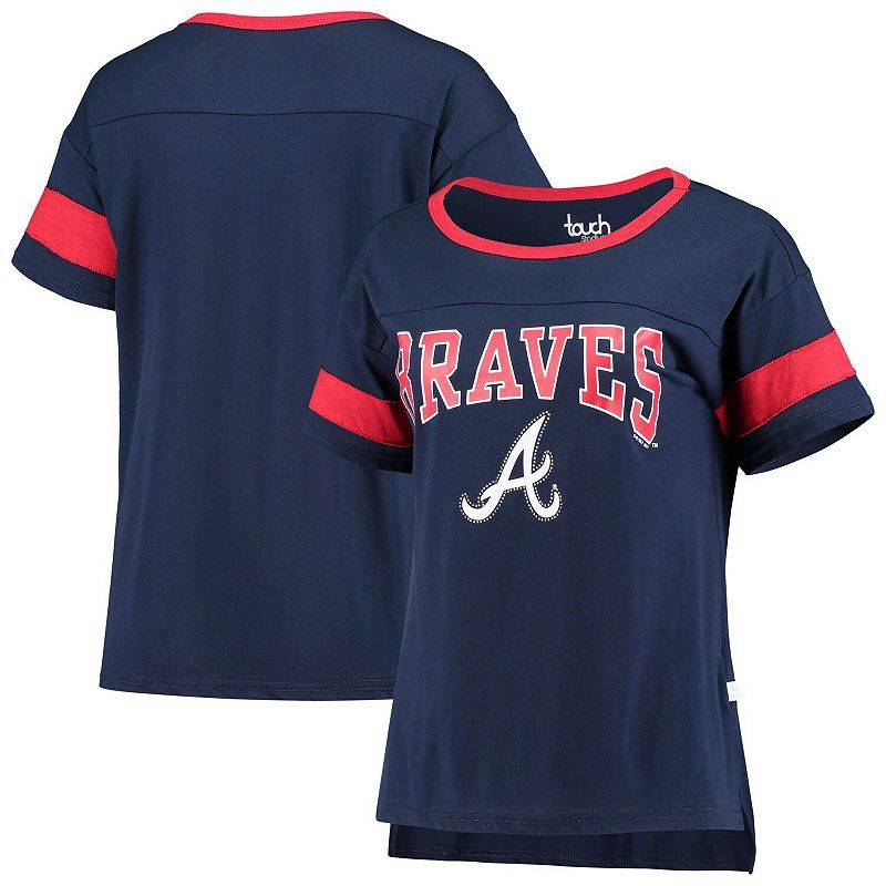 Unbranded Women's G-III Sports by Carl Banks Navy Atlanta Braves Wild Card Boat Neck T-Shirt, Size: Small, Blue