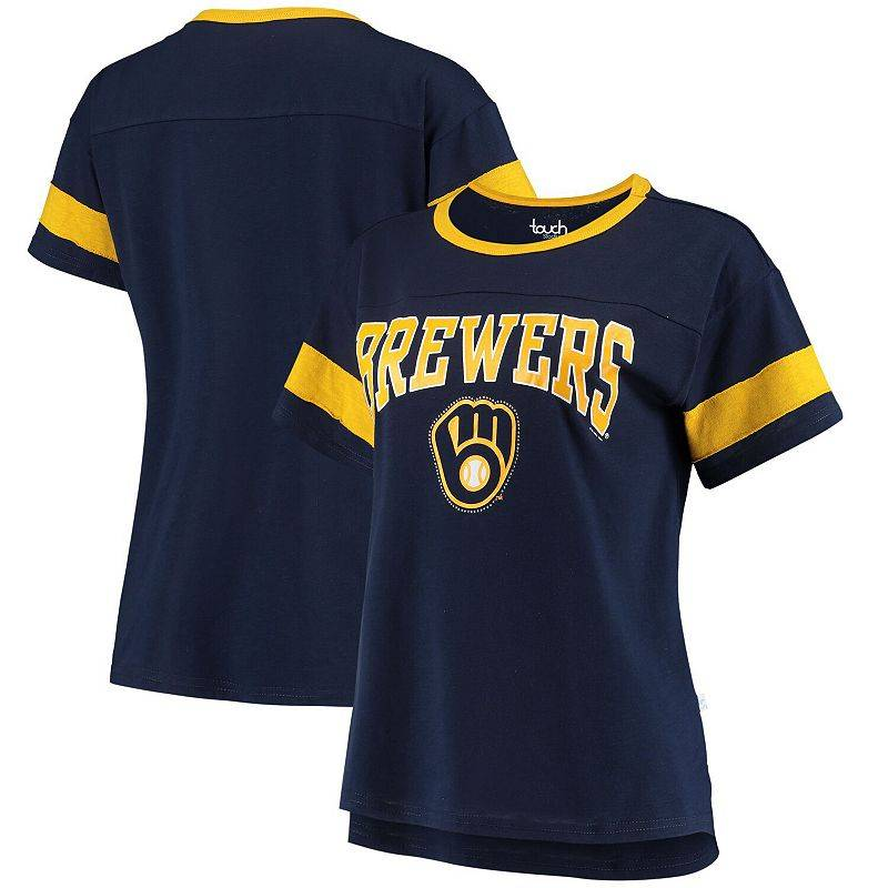 Unbranded Women's G-III Sports by Carl Banks Navy Milwaukee Brewers Wild Card Boat Neck T-Shirt, Size: Medium, Blue