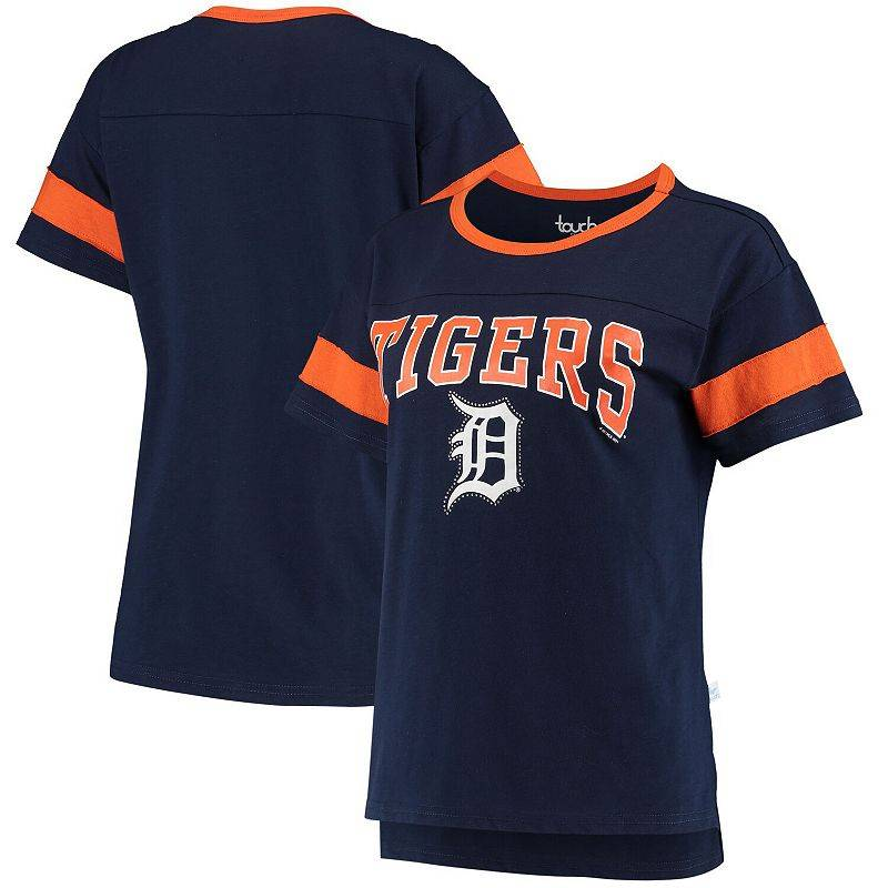 Unbranded Women's G-III Sports by Carl Banks Navy Detroit Tigers Wild Card Boat Neck T-Shirt, Size: Medium, Blue