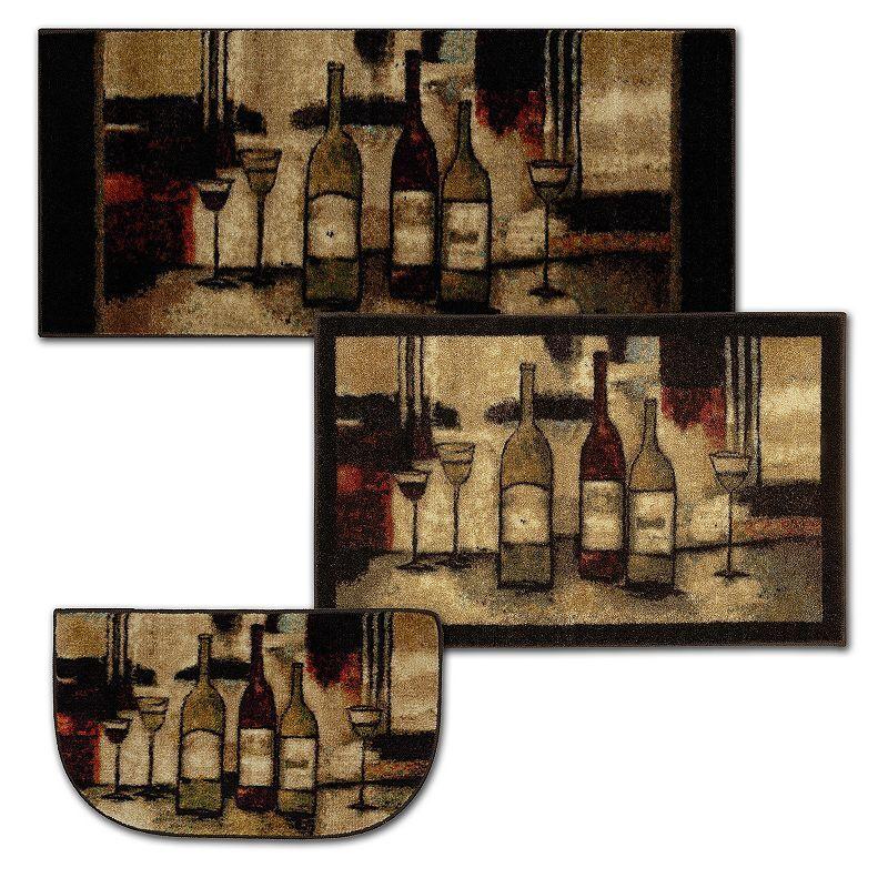 Mohawk Home Wine & Glasses Kitchen Rug, Beig/Green, 20X45