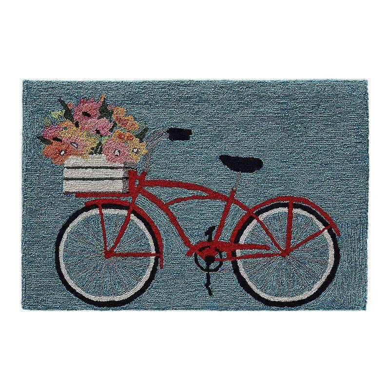 Liora Manne Frontporch Bike Ride Indoor Outdoor Rug, Blue, 2X5 Ft