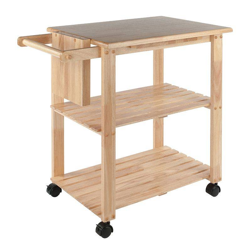 Winsome Knife Block and Cutting Board Kitchen Cart, Beig/Green, Furniture