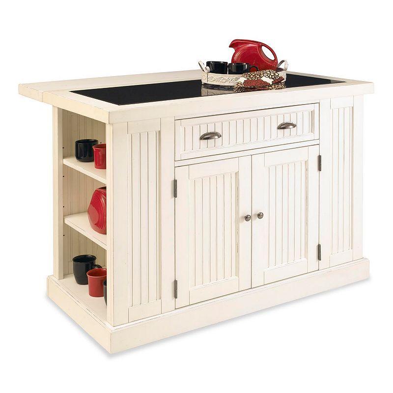 Home Styles Nantucket Kitchen Island, White, Furniture