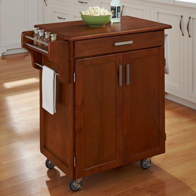Oak-Top Kitchen Cart, Brown