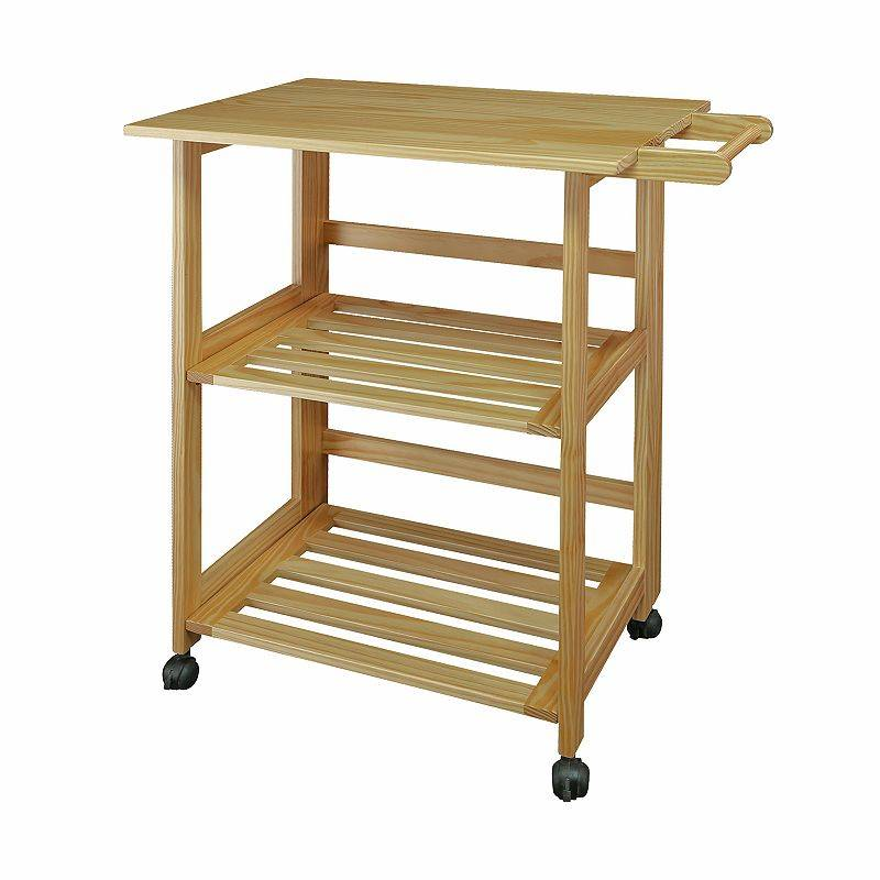 Casual Home Natural Finish Trek Folding Kitchen Cart, Brown