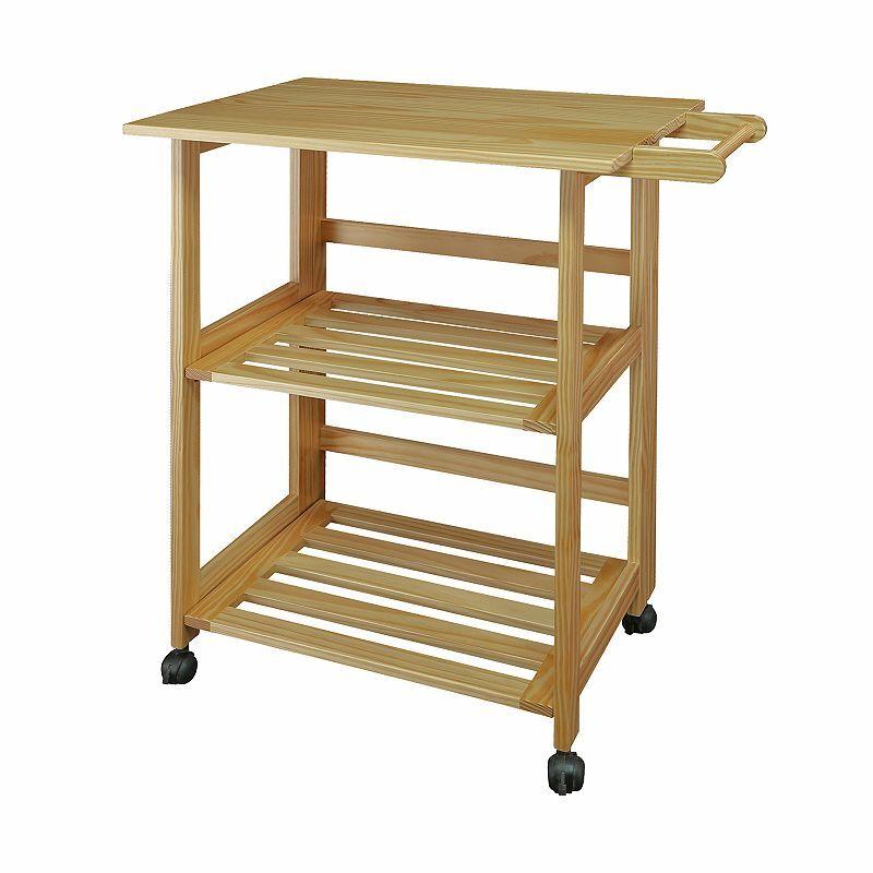 Casual Home Natural Finish Trek Folding Kitchen Cart, Brown