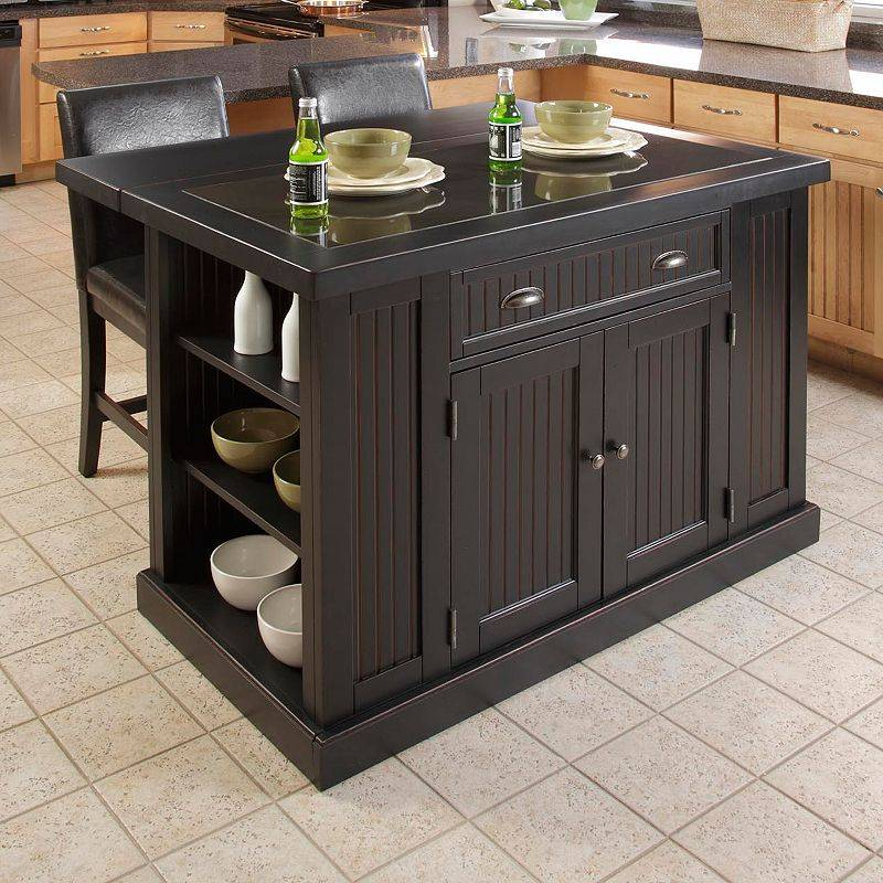 Home Styles Nantucket 3-pc. Kitchen Island Set, Black, Furniture
