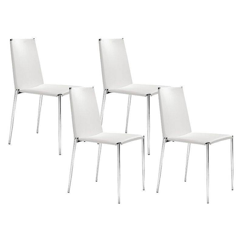 Zuo Modern 4-piece Alex Dining Chair Set, White