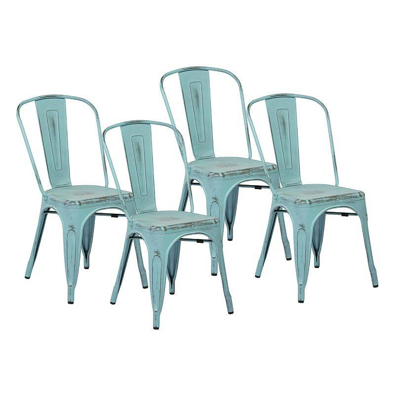 OSP Designs 4-piece Bristow Armless Dining Chair Set, Blue