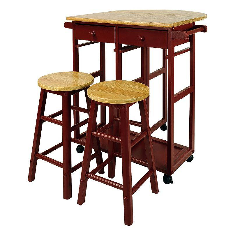 Casual Home Space Saver Kitchen Cart 3-piece Set, Red