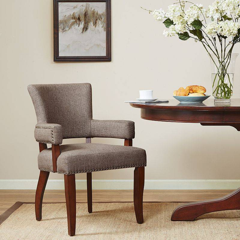 Madison Park Parler Arm Dining Chair, Brown
