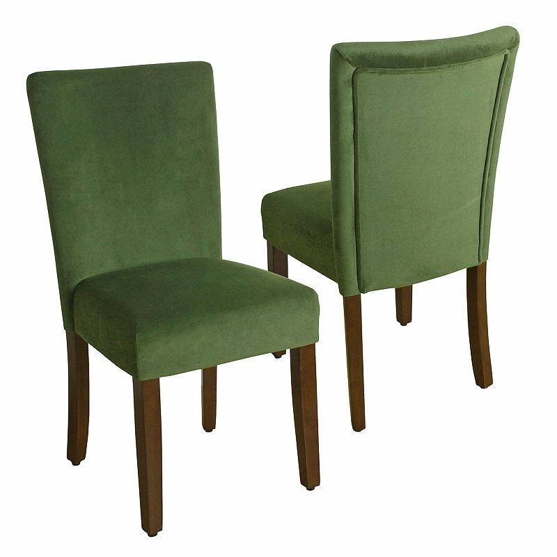 HomePop Velvet Parson Dining Chair 2-piece Set, Green