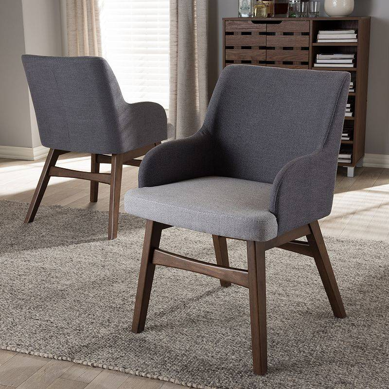 Baxton Studio Monte Mid-Century Arm Dining Chair 2-piece Set, Grey