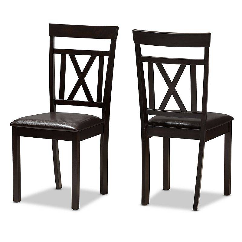 Baxton Studio Espresso Modern Dining Chair 2-piece Set, Dark Brown