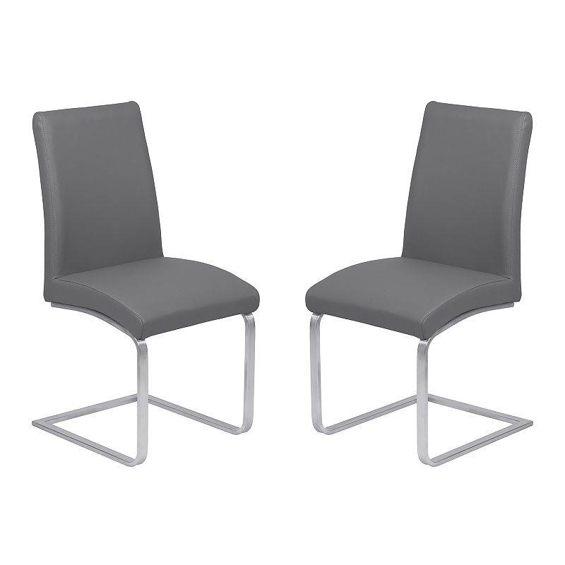 Armen Living Blanca Dining Chair 2-piece Set, Grey