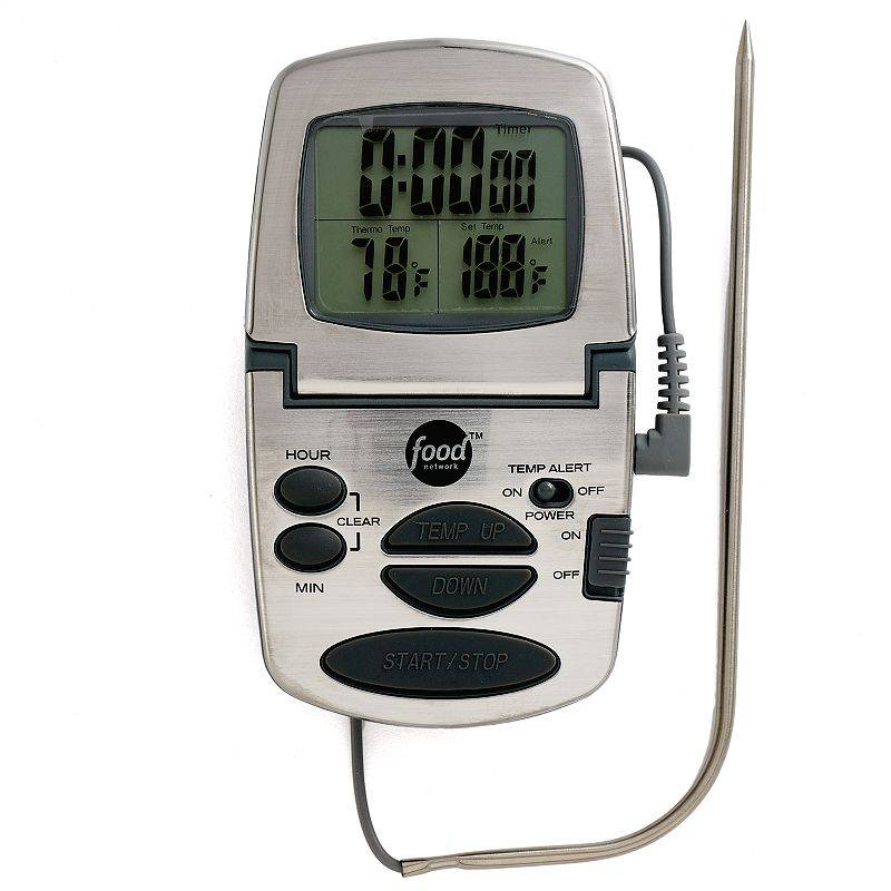 Food Network Programmable Digital Cooking Thermometer, Grey